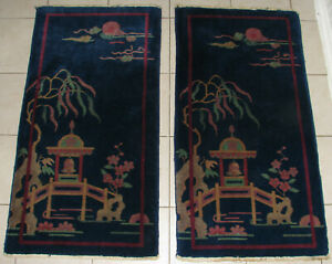 ART DECO ANTIQUE CHINESE HANDMADE WOOL RUG PAIR MATCHING PICTORIAL RUGS