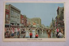 d493 vintage postcard Street Scrubbing Parade Holland Michigan Tulip time scene
