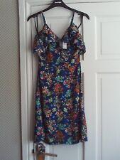 PRIMARK~Stunning Sheer Blue Floral ~ Open Frill Shoulder Strap Sun Dress Size 6