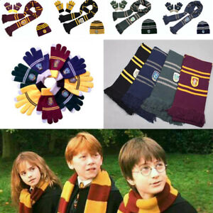 Harry Potter Scarf Gryffindor-Slytherin-Hufflepuff-Raveclaw Kint Hat Glove Gifts