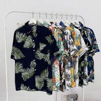 Men's Fashion Floral Printed Casual Shirt Summer Short Sleeve Flower Beach Shirt