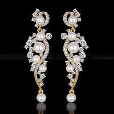 Gold Plated Clear Crystal Pearl Wedding Chandelier Drop Dangle fashion Earrings