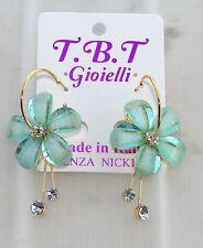Orecchini con Fiori cristallo Cerchi oro da Donna Eleganti pendenti verdeacq