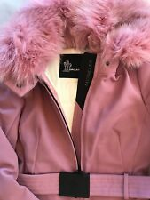MONCLER ORIGINAL Pink Fur Technical Ski Jacket size 0 + original packaging/tags