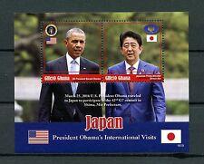Ghana 2016 MNH Barack Obama Visits Japan 2v S/S Shinzo Abe US Presidents Stamps