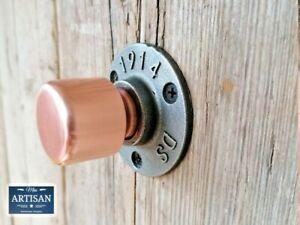 35mm Copper Pipe Knob Handles - Door / Cupboard Knobs - Rustic / Industrial