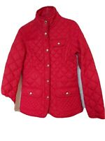 Joules Calverly Quilted Jacket In English Red Size 10