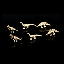 6 Pairs/Lot Gold Silver Dinosaur Earrings Cute Ear Stud Small Unisex Jewelry New