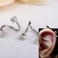 Crystal Stainless Steel Twist Ear Helix Cartilage Earring Body Piercing Jewelry