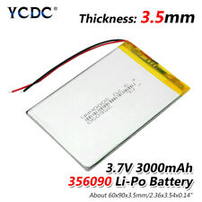3.7V 3000mAh Li-Po Rechargeable Battery 356090 For MP4 MP5 DVD GPS PAD Tablet 2