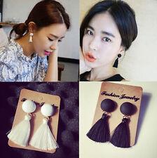 Women Vintage Thread Tassel Fringe Earrings Pearl Drop Dangle Earrings Jewelry