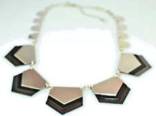 """EXPRESS ART DECO STYLE SILVER GRAY & BLACK METAL 16"""" to 21"""" STATEMENT NECKLACE"""