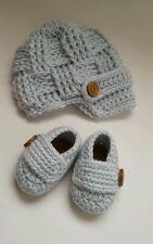 NEW Newborn Baby Boy Hat and Booties Crochet Infant Photo Prop Gift