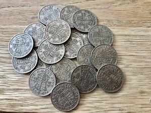 COLLECTION / BULK LOT OF 20 CUPRO-NICKEL HALF CROWN COINS (1947-1951) - REF 3