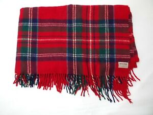 "TROY ROBE Blanket Plaid Wool Throw Stadium Picnic Fringe Vintage 56"" x 64"""