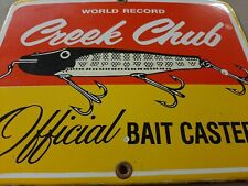 Creek Chub Official Bait Caster Porcelain Metal Sign Fishing Lures Tackle sport