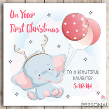 Personalised First Christmas Card Baby Daughter Granddaughter Goddaughter Niece