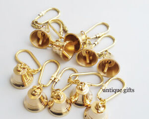 Classic Style Antique Nautical Vintage Brass Bell Chain Key ring Lot of 10 Pcs