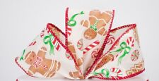 2.5 Inch Christmas Gingerbread Wired Ribbon 5 Yards