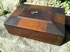 Antique Mahogany Keepsake Document or Jewelry Box with Satin Inlay Wood 1850s