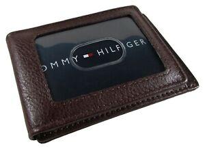 New Men's Tommy Hilfiger Leather York Front Pocket Magnetic Money Clip Wallet