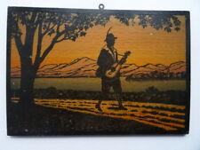 alter Scherenschnitt, auf Holz gedruckt, Wandergeselle mit Gitarre, Junge