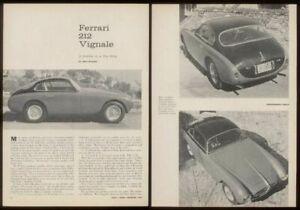 1958 Ferrari 212 Vignale car multi photo road test print article