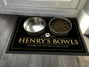 Personalised with any name Pet Dog bowl feeding mat 60 x 40 cm Large Mat