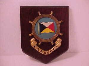 1960's Canberra Yacht Club Flag Ships Wheel Plaque Teak Wood Maritime Nautical