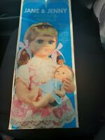 """Vintage Musical Jane & Jenny.  Doll 19-1/2"""" tall. Baby-6-1/2"""". Rocking motion"""