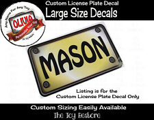 Large Custom License Plate Decal Sticker Fits Any Diy Toy Truck Ride- Car Color