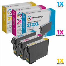 LD Remanufactured Epson 212XL High Yield Ink Cartridges: Cyan Magenta Yellow 3PK