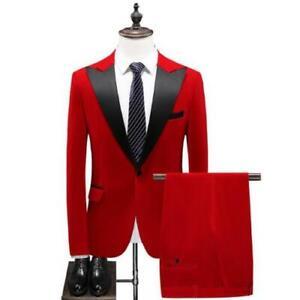 2 PCS Mens Velvet Blazer Pants Suit Lapel Wedding One Button Jacket Pants New L