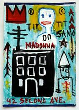 Amazing painting acrylic on postcard J.M. Basquiat.P091.
