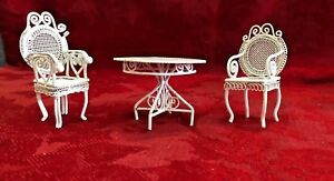 White Wicker Style Lounge Doll House Furniture Table 2 Chairs Metal Vintage