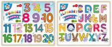 2 x WOODEN PUZZLE Alphabet & Number Jigsaw Kid Learning Educational Preschool