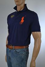 Ralph Lauren Navy Blue Mesh Polo Shirt/Orange Big Pony & Yacht Club -Small- NWT