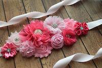 Sash, Think pink Sash, flower Belt, maternity sash, wedding sash