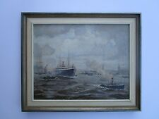VINTAGE INDUSTRIAL PAINTING SHIPS NAUTICAL PORT BOATS MARINA MYSTERY ARTIST 1960