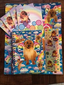 Lisa Frank Barclay Angel Dog Double Pocket Folder, Mini notebook, Sticker sheet