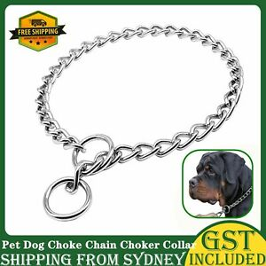 Pet Dog Choke Chain Choker Collar Strong Silver Metal Iron Training 6 sizes AU