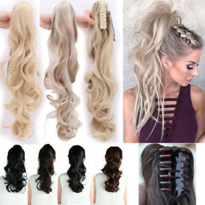 """24/26"""" Claw Pony tail Ponytail Clip In On Hair Extensions Straight 28 Colours fo"""