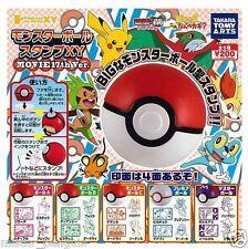 Pokemon XY Pokeball Stamp Set of 3 Pikachu Wobbuffet Victini Movie Takara Tomy