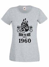 T-shirt Maglietta donna J2230 Born To Ride Since 1960 Compleanno Idea Regalo Mot
