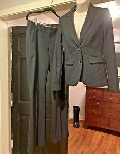 BANANA REPUBLIC PANT SUIT Black Blazer Jacket and Pants Stretch Wool Sz 2 and 4
