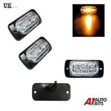 2x Amber  LED Car Truck Emergency Beacon Lights Hazard Flash Strobe Bar Warning