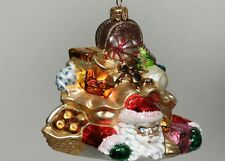 SEWERYNSKI SANTA CRUSHED BY GIFTS Glass Holiday Tree Ornament 4.5