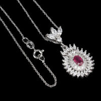 Oval Red Ruby 6x4mm Cz 14K White Gold Plate 925 Sterling Silver Necklace 18 Inch
