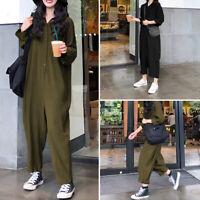 Mode Femme Combinaison Chemise Manche Longue 100% coton Boutons Pantalon Plus