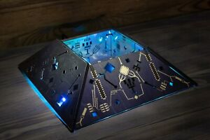 Cyberpunk Lamp - Truncated Metal-Look Pyramid Night Light- Handmade Sci-fi Punk